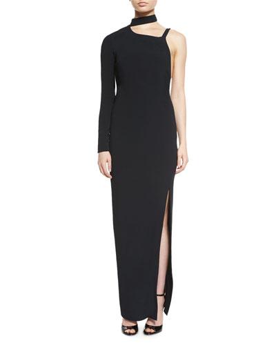 One-Sleeve Cady Column Gown, Black