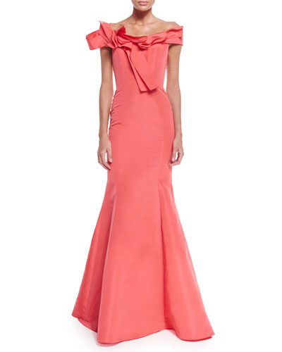 Off-The-Shoulder Mermaid Gown, Coral
