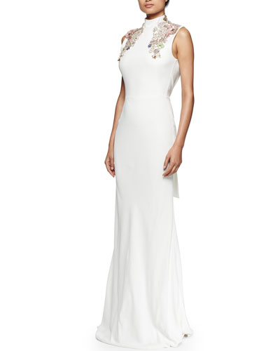 Embroidered Mock-Neck Open-Back Gown, White