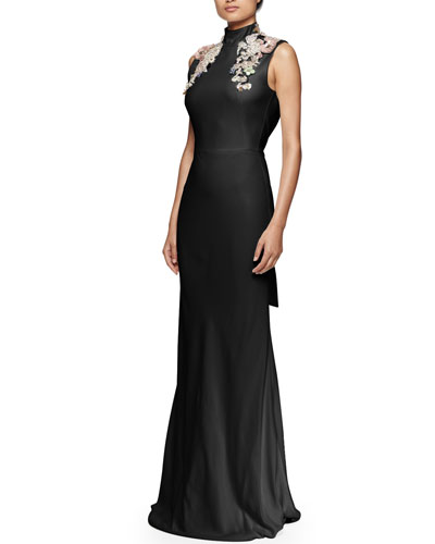 Jeweled Mock-Neck Open-Back Gown