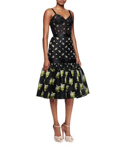Embroidered Peplum-Hem Bustier Dress, Black/Green