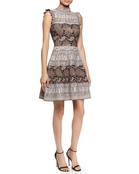 Ruffled Snake-Print Fit-and-Flare Dress, Pink Snake