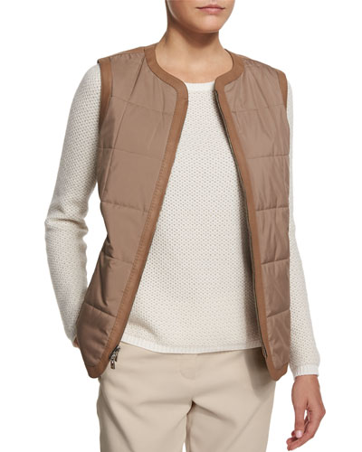 Gilet Gavin Nubuck Leather Vest, Walnut