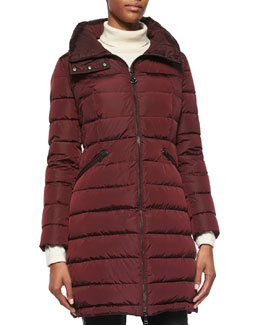 Flammette Stripe-Quilted Mid-Length Puffer Coat