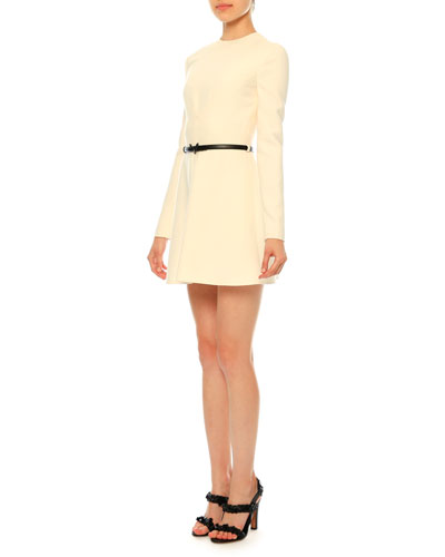 Belted Long-Sleeve Wool-Silk Crepe Dress, Ivory