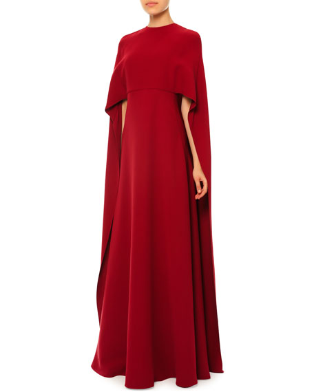 Jewel-Neck Half-Sleeve Capelet Gown, Amareno
