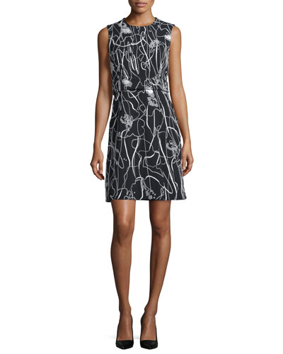 Sleeveless Scribble-Print Crepe Dress, Black