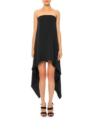 Strapless Silk Cady Trapeze Dress, Black