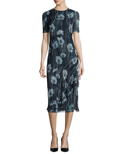 Watercolor Floral-Print Silk-Blend Sheath Dress, Dusk/Multi