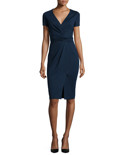 Short-Sleeve Ponte Wrap-Front Dress, Dusk