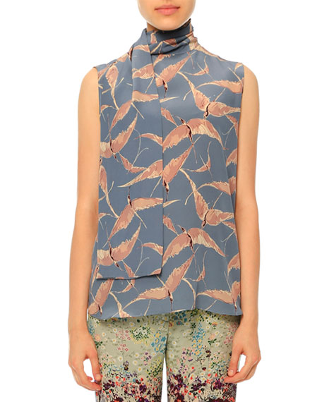 Sleeveless Bird-Print Silk Neck-Tie Blouse, Ardesia