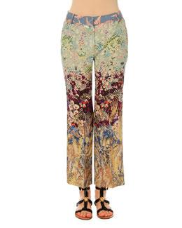 Silk Crepe Landscape-Print Pants, Multi