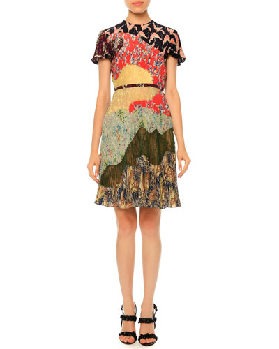 Pleated Short-Sleeve Patchwork Silk Dress, Garden Party