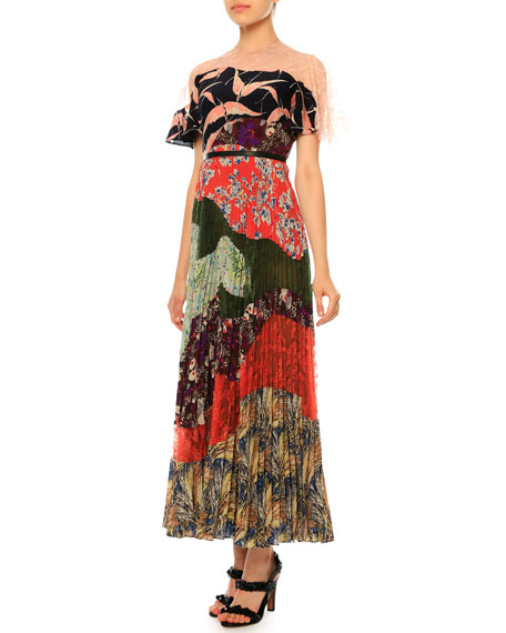 Multi-Print Pleated Patchwork Dress, Garden Party