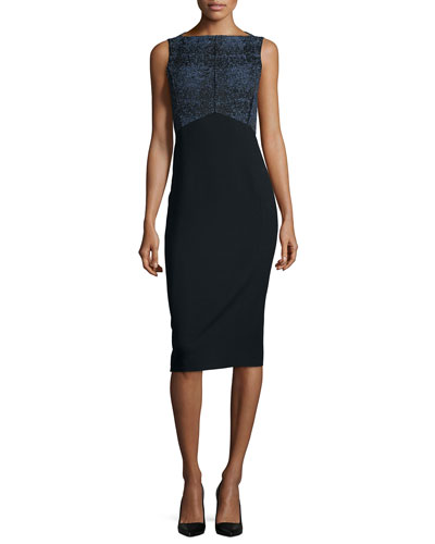 Sleeveless Tweed/Crepe Combo Sheath Dress, Black