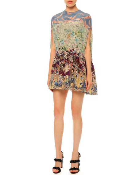 Landscape-Print Silk Crepe de Chine Dolman Dress