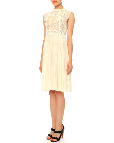 Sleeveless Lace Plisse Dress, Avorio