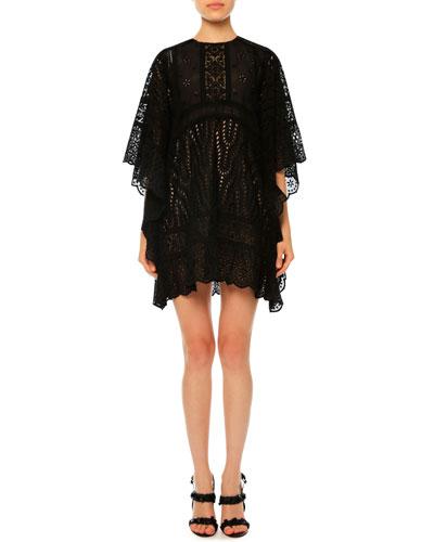 Sangallo Lace Cape Dress, Black
