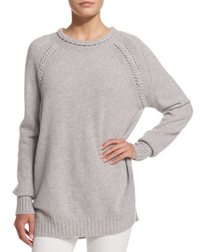 Long-Sleeve Braided-Trim Sweater, Pale Gray Melange