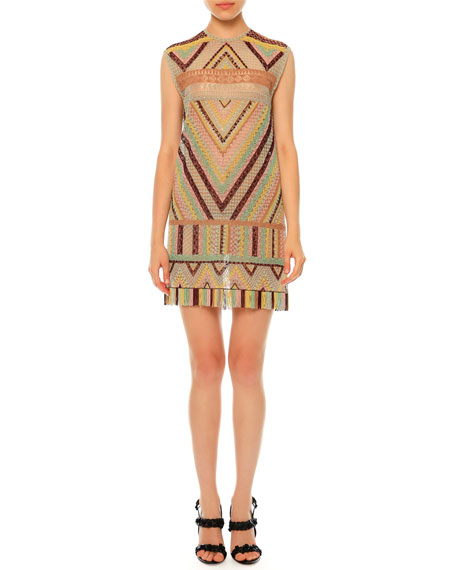 Geometric Macrame Shift Dress, Multi