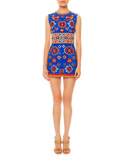 Geometric-Print Short Suede Jumpsuit, Multi