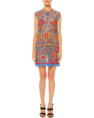 Southwest-Print Tulle Illusion Dress, Multi