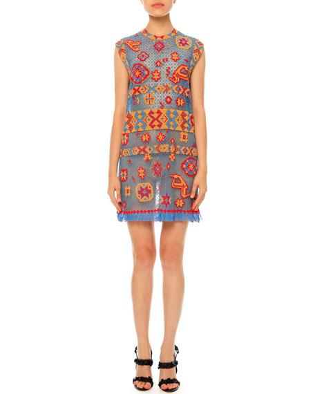 Southwest-Print Tulle Illusion Dress, Multi