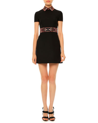 Embellished-Collar A-Line Crepe Couture Shirtdress, Black