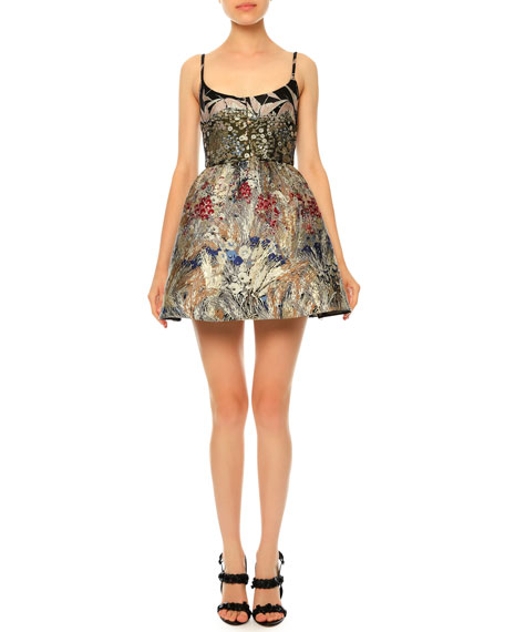 Landscape-Print Brocade Fit-and-Flare Dress, Black