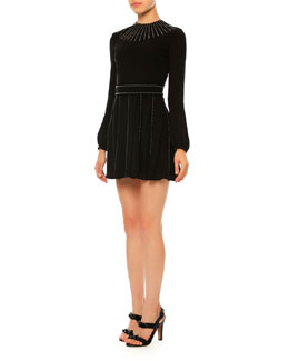 Long-Sleeve Studded Silk Georgette Dress, Black (Nero)