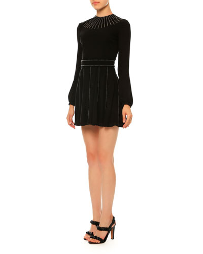 Long-Sleeve Studded Silk Georgette Dress, Black (Nero)
