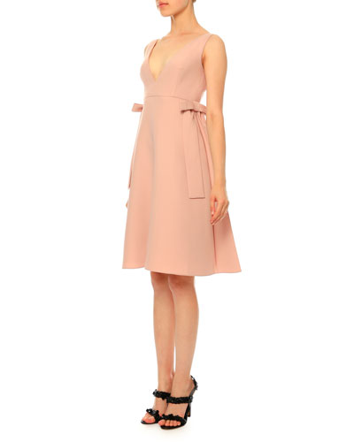Sleeveless V-Neck Crepe Couture Bow Dress, Rose Poudre