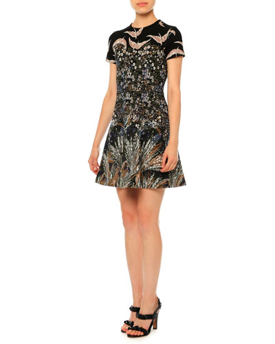 Landscape Jacquard Fit-and-Flare Dress, Multi