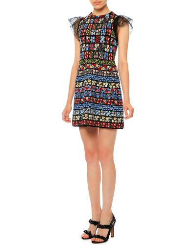 Jewel-Neck Flutter-Sleeve Mini Dress, Multi Colors