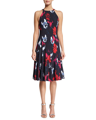 Floral-Print A-Line Halter Dress, Navy/White