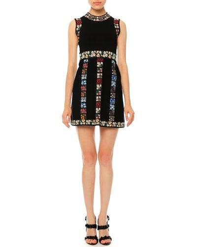 Sleeveless Garden-Stripe Mini Dress, Black Multi
