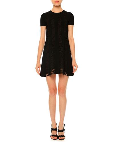 Short-Sleeve Stretch-Knit Lace Dress, Black