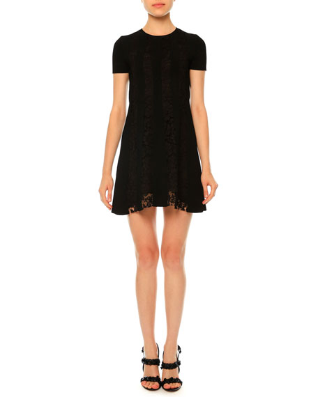 Short-Sleeve Stretch-Knit Lace Dress, Black