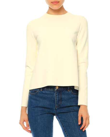 Long-Sleeve Lace-Back Top, Ivory