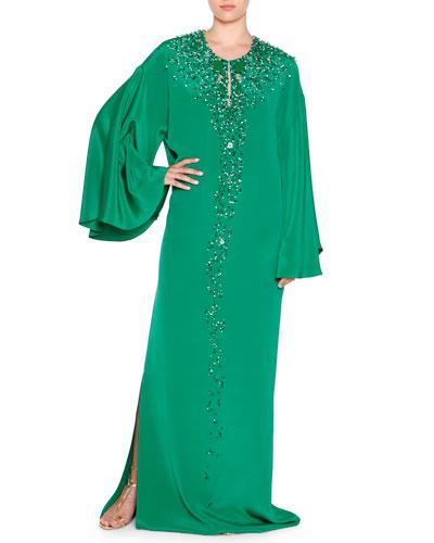 Embellished Silk Cady Caftan, Emerald