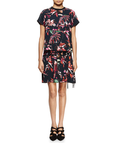 Tropical-Print Short-Sleeve Shirtdress, Navy/Red/Pink