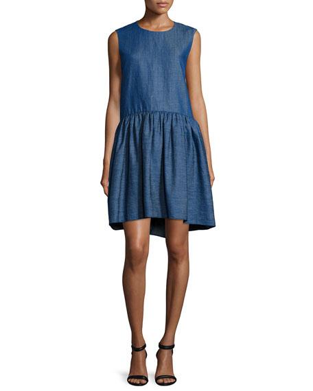 Sleeveless Denim Peplum Dress, Indigo