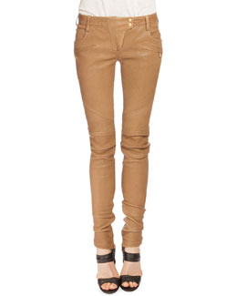 Leather Moto Jeans, Tan