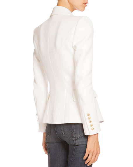 Double-Breasted Tweed Jacket, White