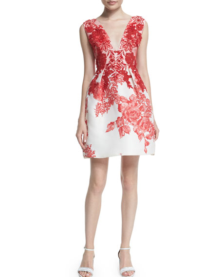 Sleeveless Rose-Print Silk Gazar Dress