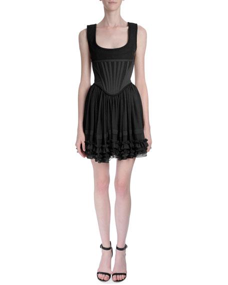 Givenchy Ruffled Corset Top Dress Black