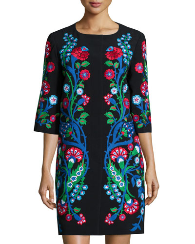 Floral-Embroidered Crepe Half-Sleeve Coat