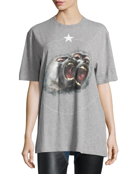 0c5d4dbb Givenchy Monkey Brothers Short-Sleeve Tee, Gray