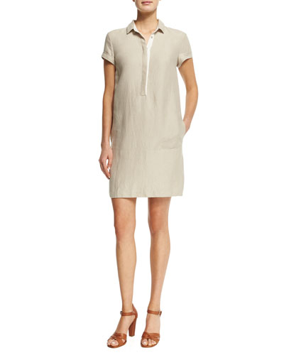 Nicole Linen Short-Sleeve Polo Shirtdress, Raw Linen