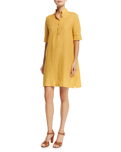 Lucy Linen Shirtdress, Honey Light Gold